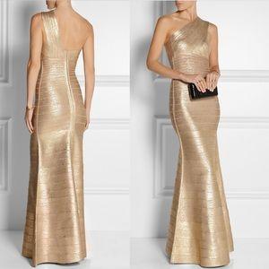 Herve Leger Lilyanna Gold Metallic Gown Dress
